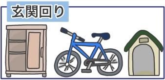 下駄箱、自転車、犬小屋