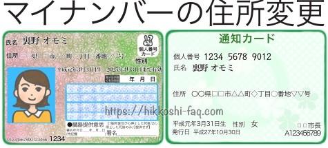 マイナンバーカードと通知カードのイラストです。