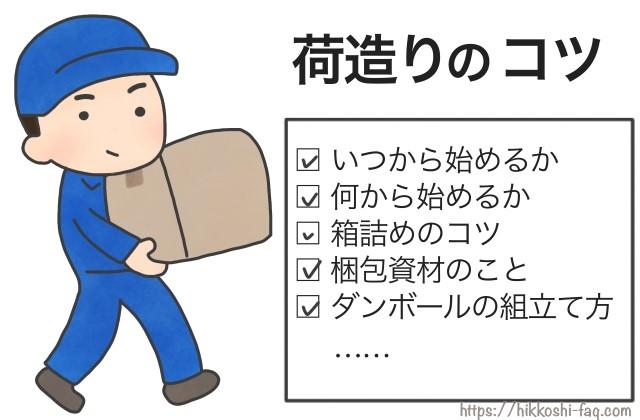 ダンボールを抱えた引越し作業員が、荷造りのコツを説明しようとしています。