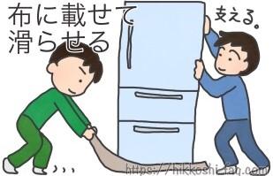 冷蔵庫を布の上にのせて滑らせながら移動させている二人組のイラストです。