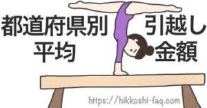 平均台の上でポーズをとる女性です。都道府県別の引越し金額です。