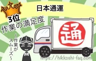 作業の満足度3位日本通運です。