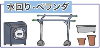洗濯機、物干しざお・台、植木鉢