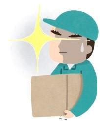 箱を持ち上げて危険な気配を感じた作業員です。