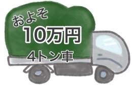 4トン車1台およそ10万円