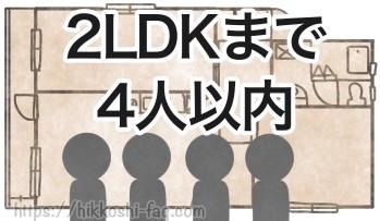 2LDKまで4人以内