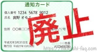 廃止された通知カードです。